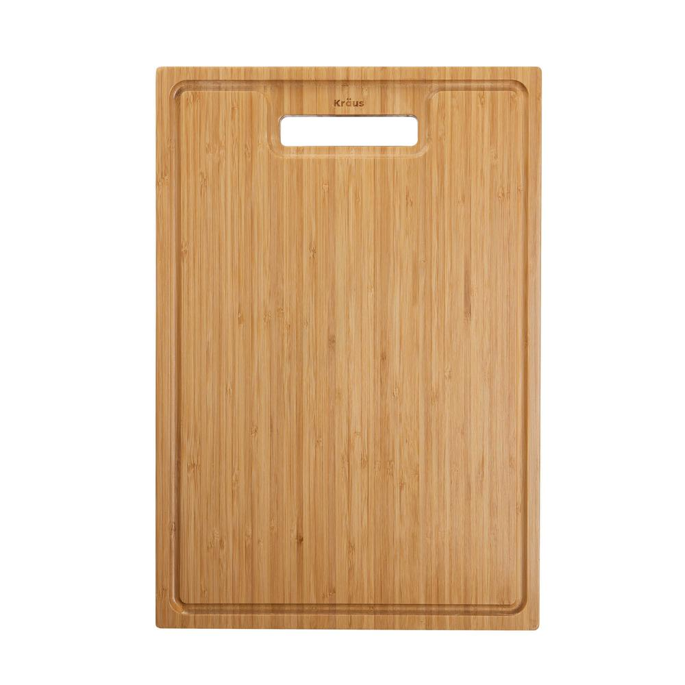 17.5 in. x 12 in. Rectangle Organic Solid Bamboo Cutting Board for Kitchen Sink