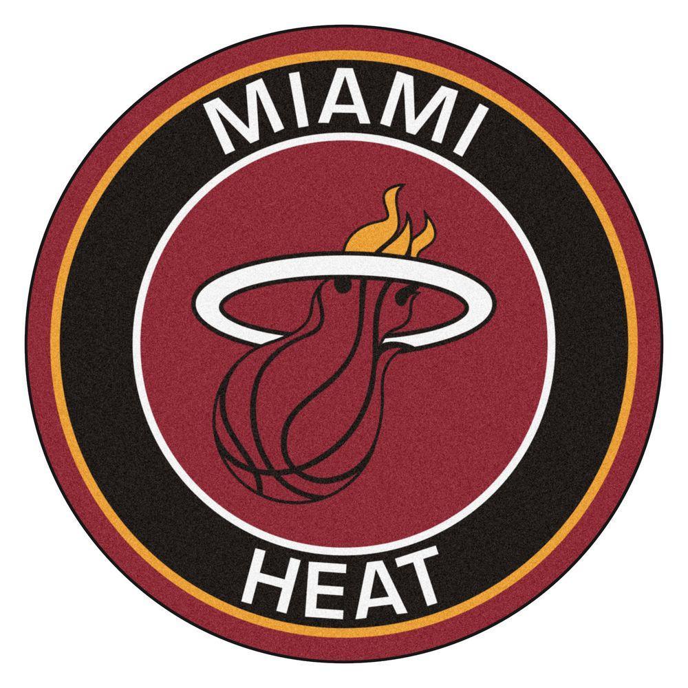 NBA Miami Heat Black 2 ft. x 2 ft. Round Area Rug
