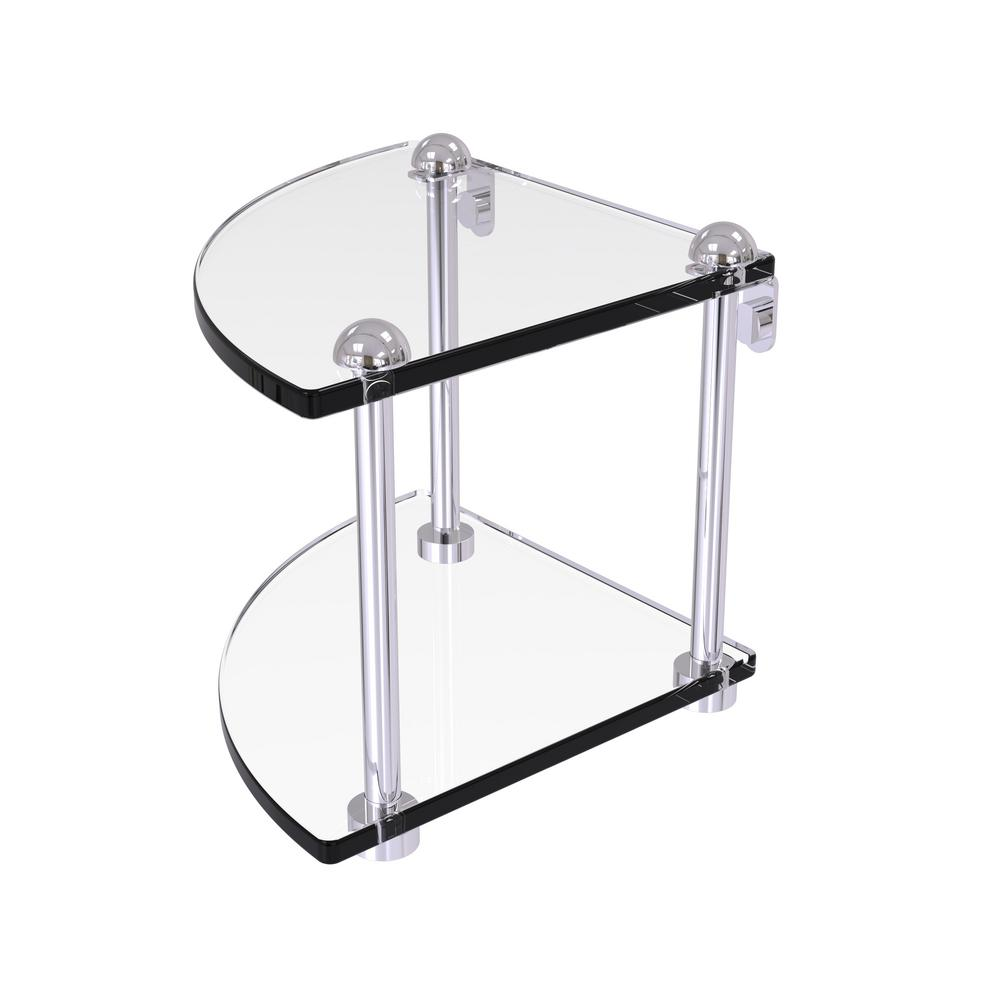 8 in. 2-Tier Corner Glass Shelf in Polished Chrome