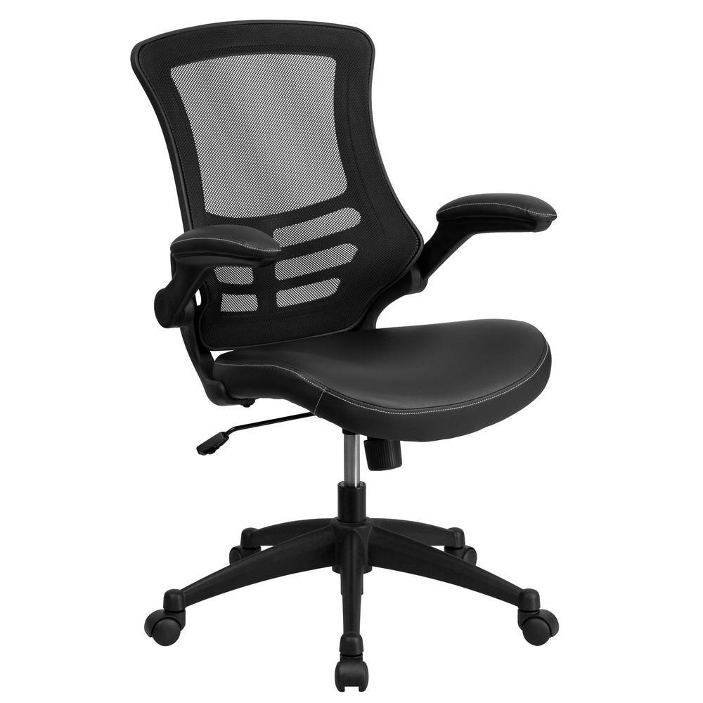 Black Leather/Mesh Plastic Office/Desk Chair