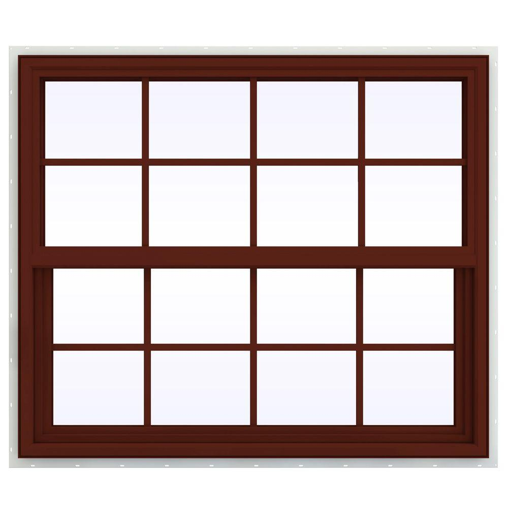 JELD-WEN 41.5 in. x 35.5 in. V-4500 Series Single Hung Vinyl Window with Grids - Red
