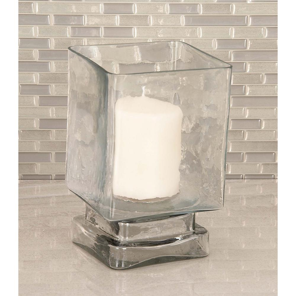 Cube Shaped Frosted Gl Hurricane Candle Holder