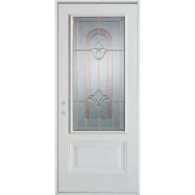 32 in. x 80 in. Traditional Brass 3/4 Lite 1-Panel Painted White Right-Hand Inswing Steel Prehung Front Door