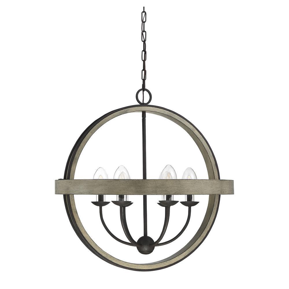 Filament design 6 light weathervane outdoor hanging chandelier