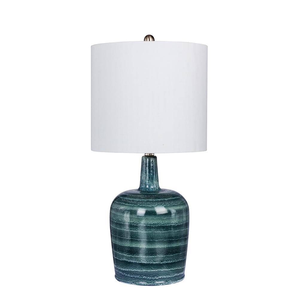 Fangio Lighting 27 In Striped Jug Glass Table Lamp In A Frosted