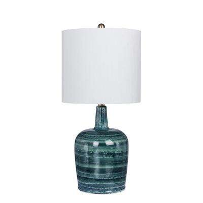 27 in. Striped Jug Glass Table Lamp in a Frosted Blue and White Striped