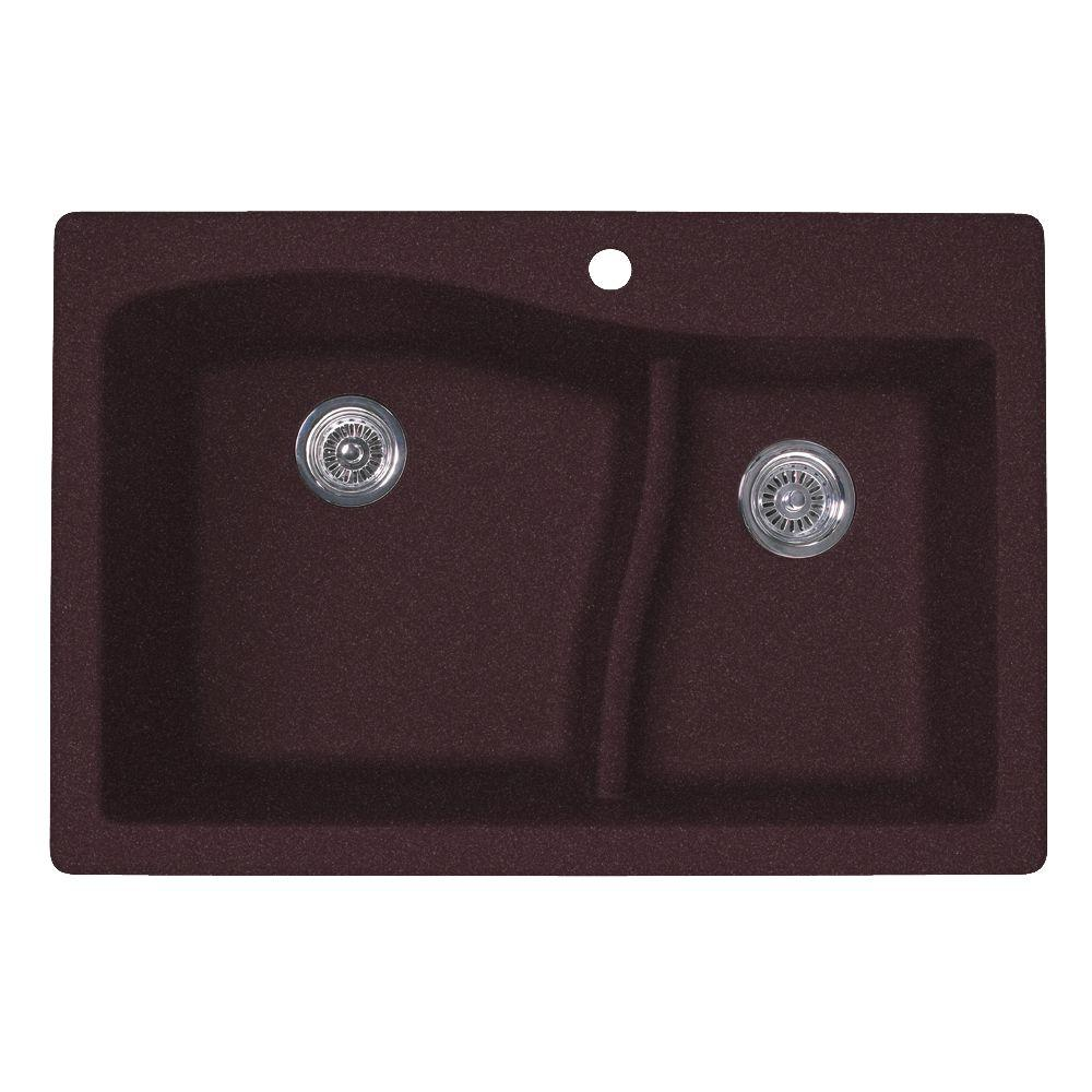 Drop-In/Undermount Granite 33 in. 1-Hole 60/40 Double Bowl Kitchen Sink in