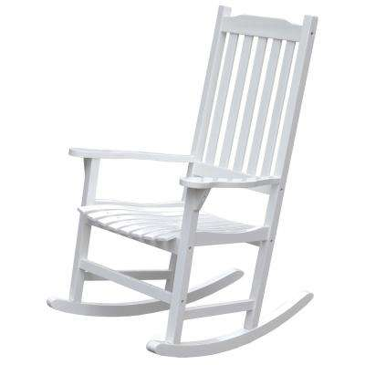 White Wooden Indoor/Outdoor Patio Deck Garden Porch Rocking Chair
