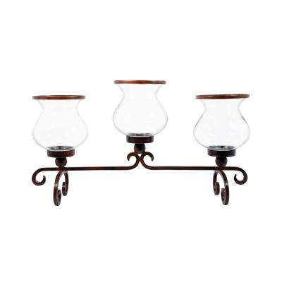 Bandera 21 in. x 37 in. Montana Rustic Iron and Clear Glass Centerpiece Candle Holder