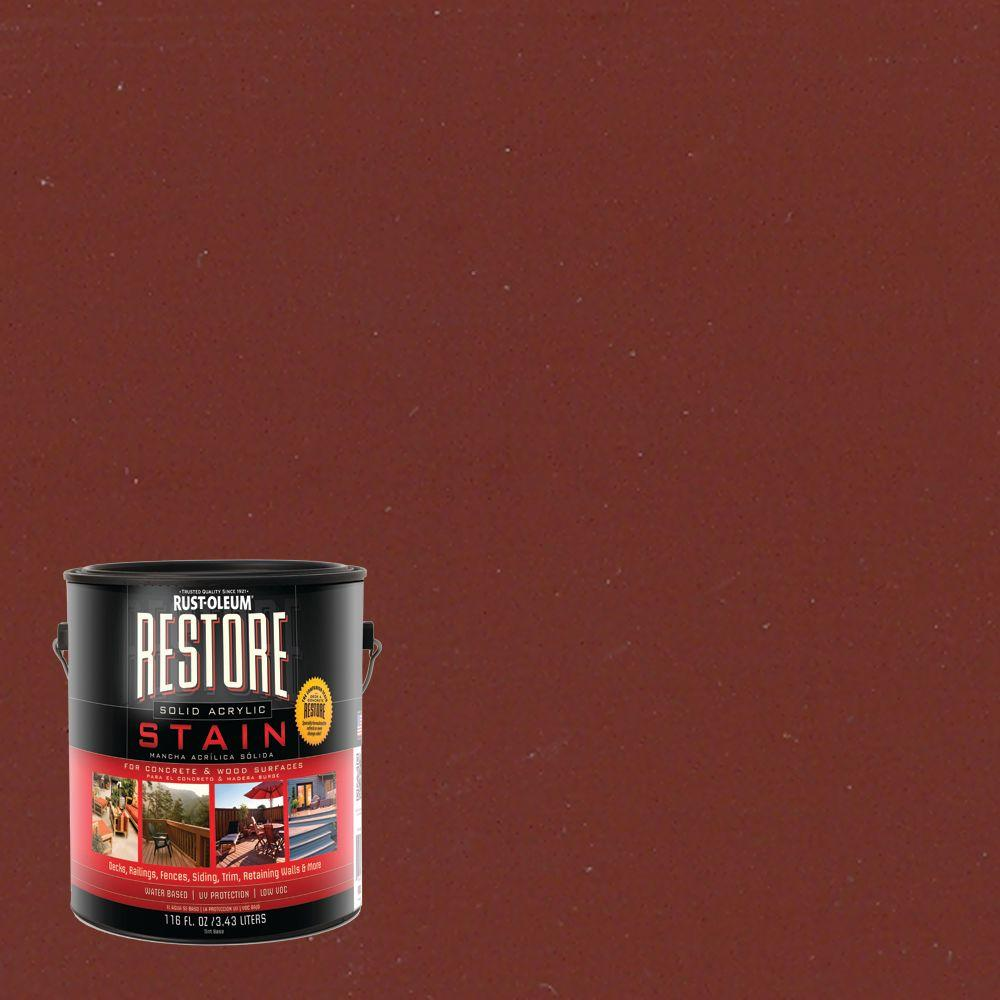 Rust-Oleum Restore 1-gal. Solid Acrylic Water Based Brick Red Exterior Stain