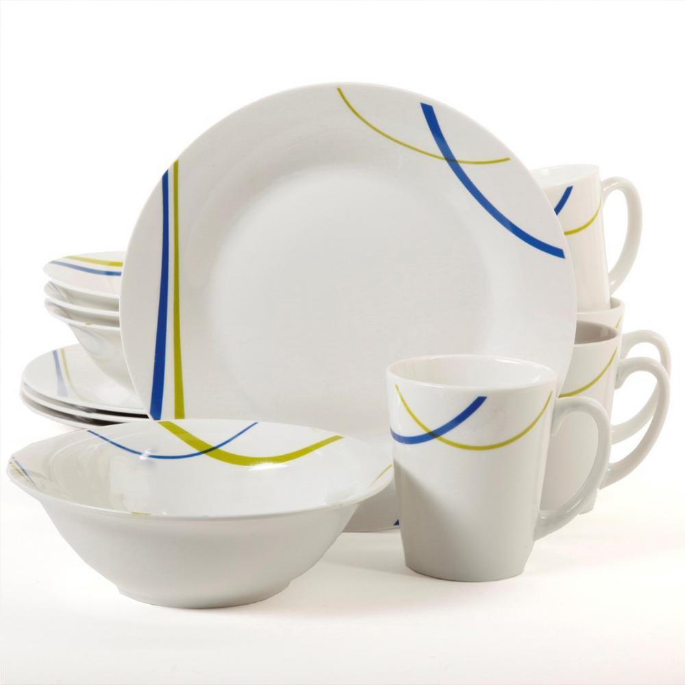 Divine Streams 12-Piece White Dinnerware Set