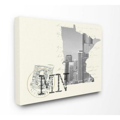 """30 in. x 40 in. """"Minnesota Black and White Photograph on Cream Paper Postcard"""" by Daphne Polselli Canvas Wall Art"""