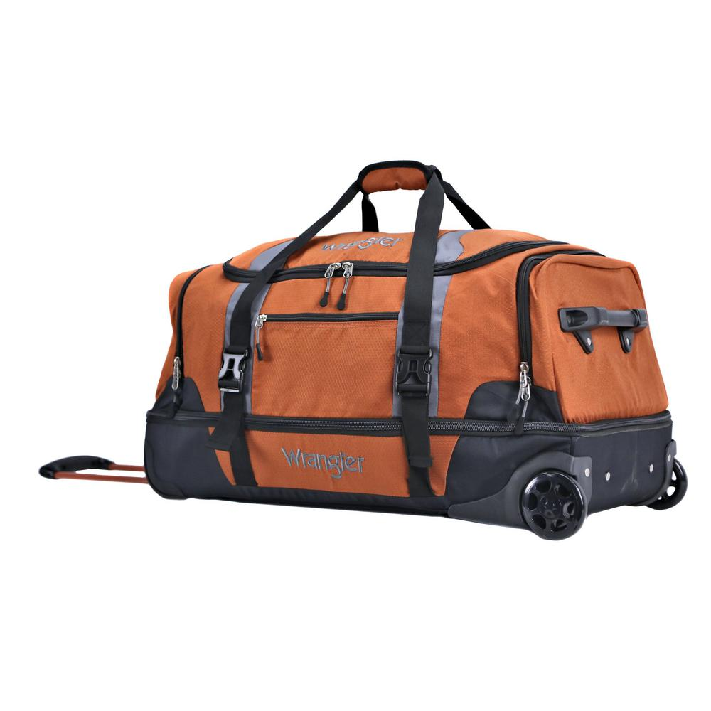 Burnt Orange 2 Section Drop Bottom Rolling Duffel Bag