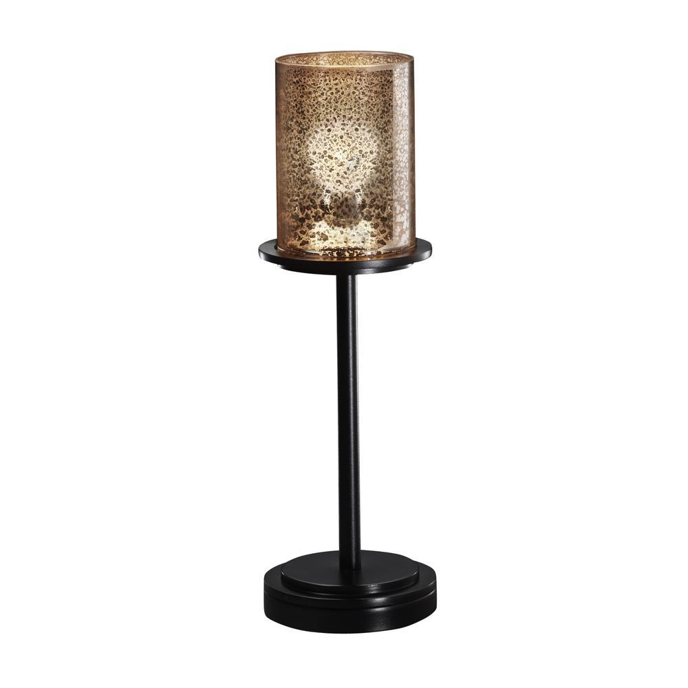 Fusion Dakota 16 in. 1-Light Matte Black Table Lamp with Mercury Glass Shade
