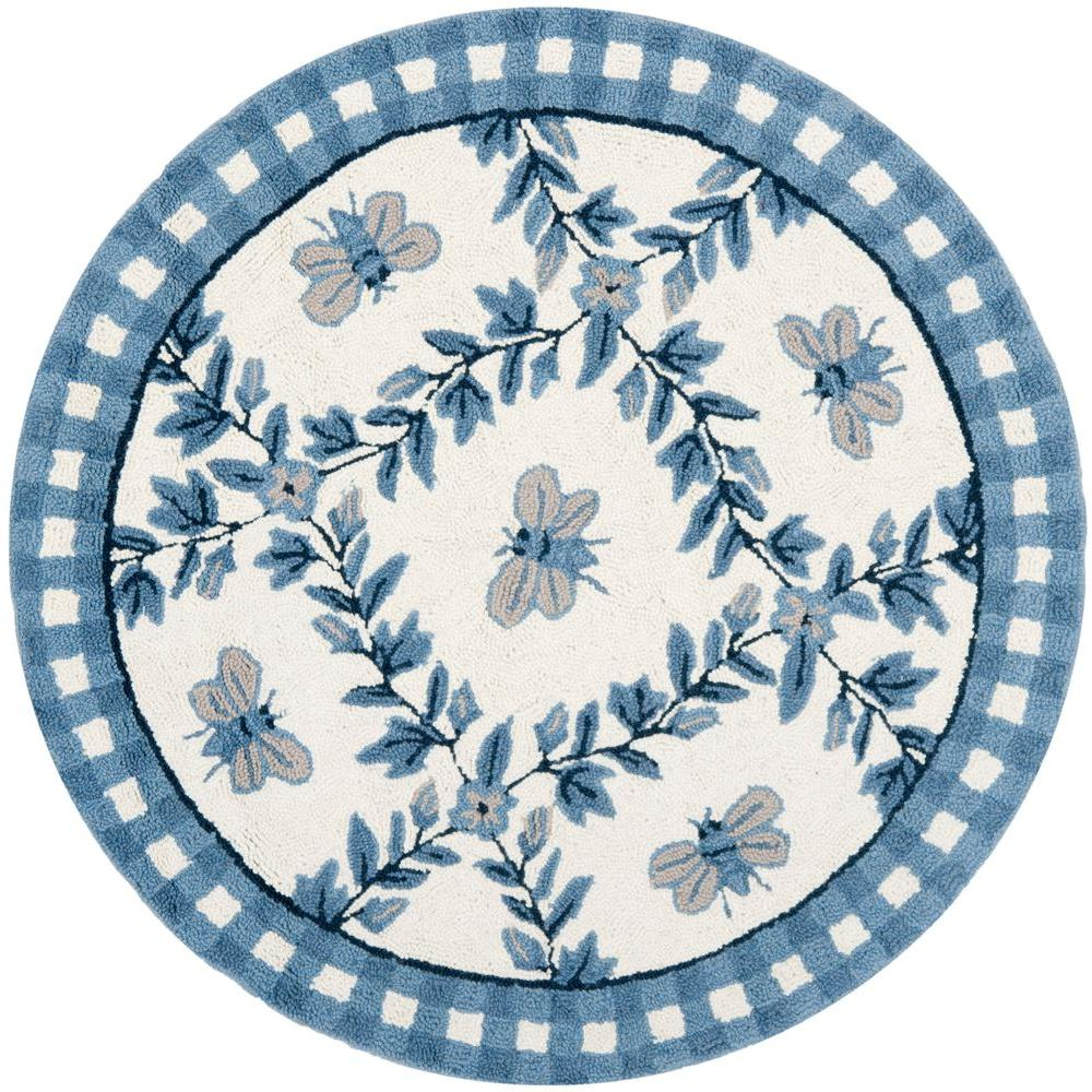 Safavieh Chelsea Ivory/Blue 3 ft. x 3 ft. Round Area Rug