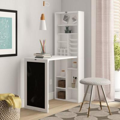 30 in. Rectangular White Floating Desk with Built-In Storage