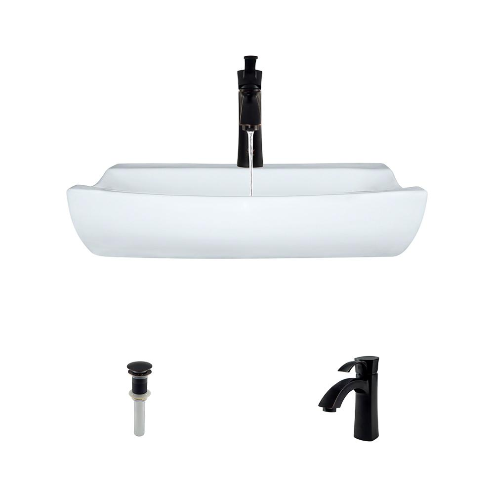 Porcelain Vessel Sink in White with 725 Faucet and Pop-Up Drain