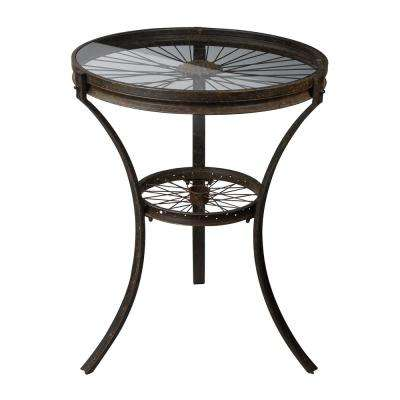 Railroad Industrial Rusted Black Side Table