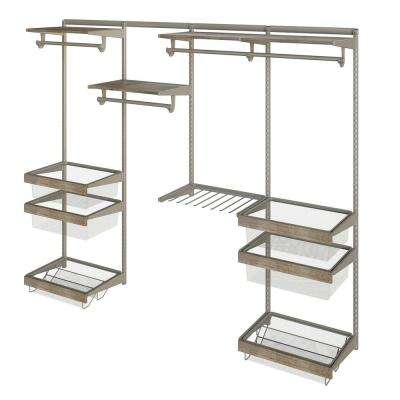 Closet Culture 16 in. D x 96 in. W x 78 in. H  with 4 Driftwood Wood Shelves Steel Closet System