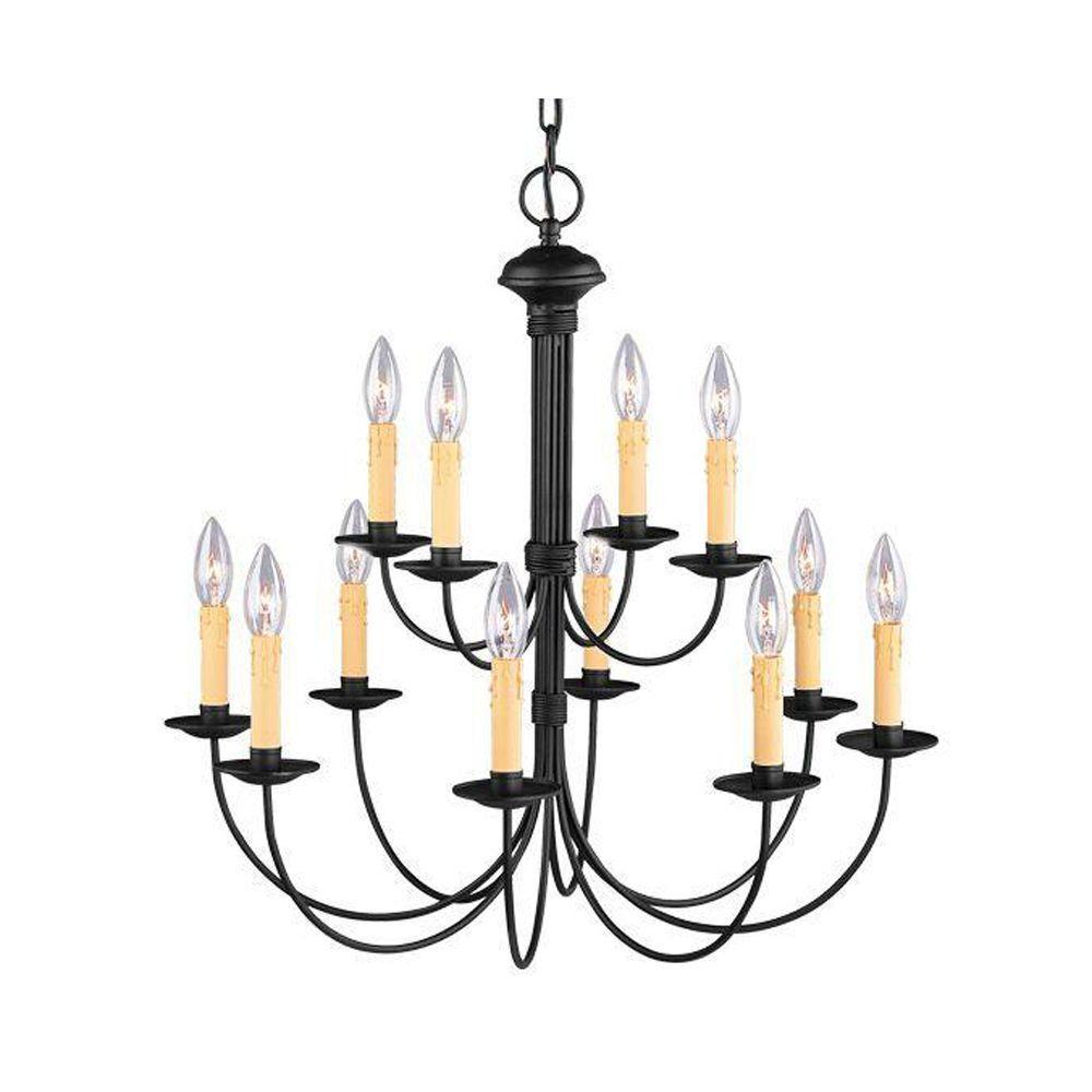 Livex Lighting Providence 12-Light Black Chandelier