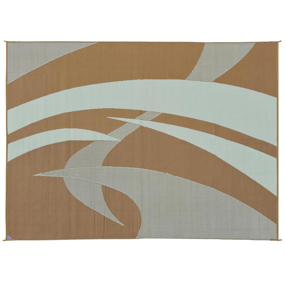 Ft Reversible Rv Patio Mat Swirl Brown