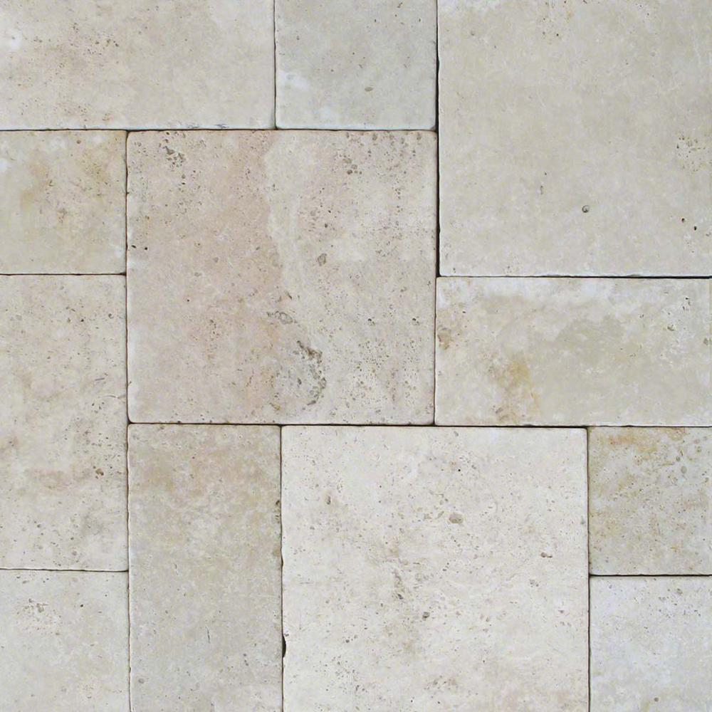 Beige 16 in. x 24 in. Tumbled Travertine Paver Tile