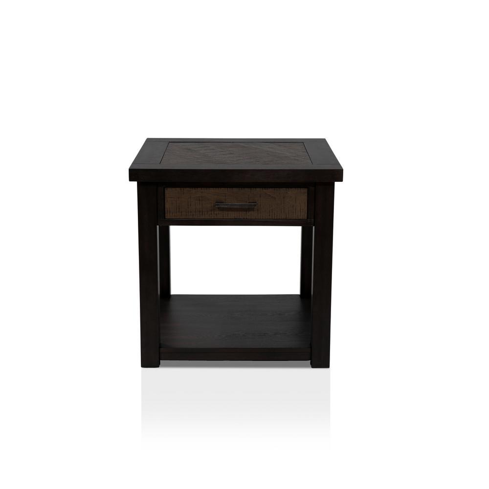 Palka 1-Drawer Dark Oak End Table