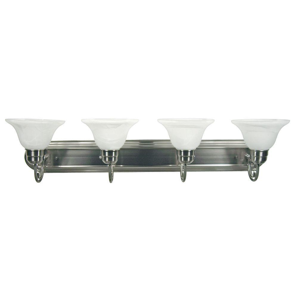 Vanity Lighting Family 4-Light Satin Nickel Frame Bathroom Vanity Light with Alabaster Glass Shade