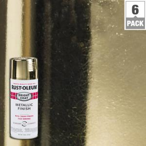 Rust oleum stops rust 11 oz gold bright coat metallic spray paint 6 pack 7710830 the home depot for Rustoleum exterior metal paint
