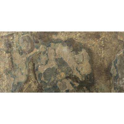 Slate Rustic Gold Calibrated/Gauged 11.89 in. x 23.74 in. Slate Floor and Wall Tile