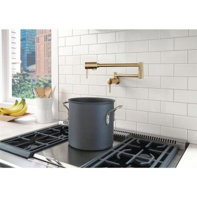 Contemporary Wall Mounted Potfiller in Champagne Bronze
