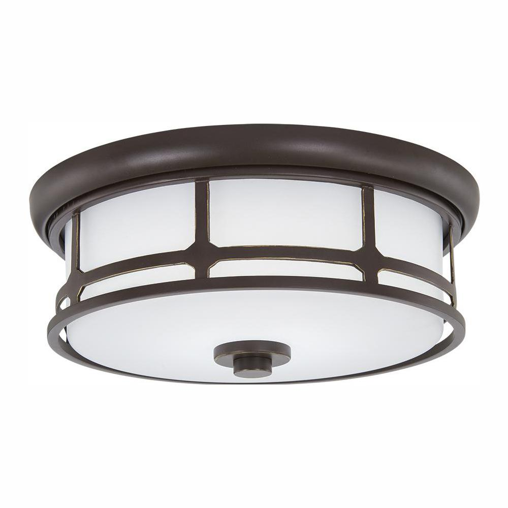 Home Decorators Collection 75-Watt Equivalence Oil Rubbed Bronze with Gold Highlights LED Flush Mount