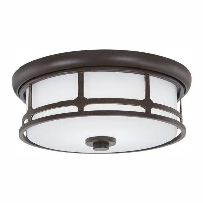 75-Watt Equivalence Oil Rubbed Bronze with Gold Highlights LED Flush Mount