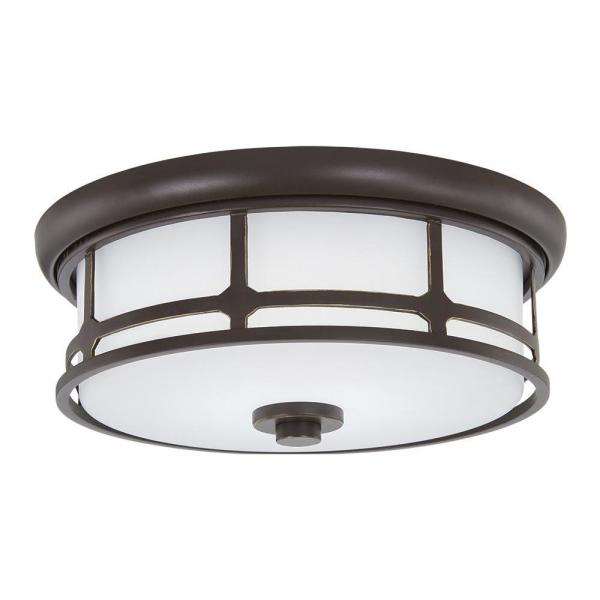 Home Decorators Collection Portland Court 14 In Oil Rubbed Bronze Led Flush Mount Ceiling Light 23954 The Home Depot