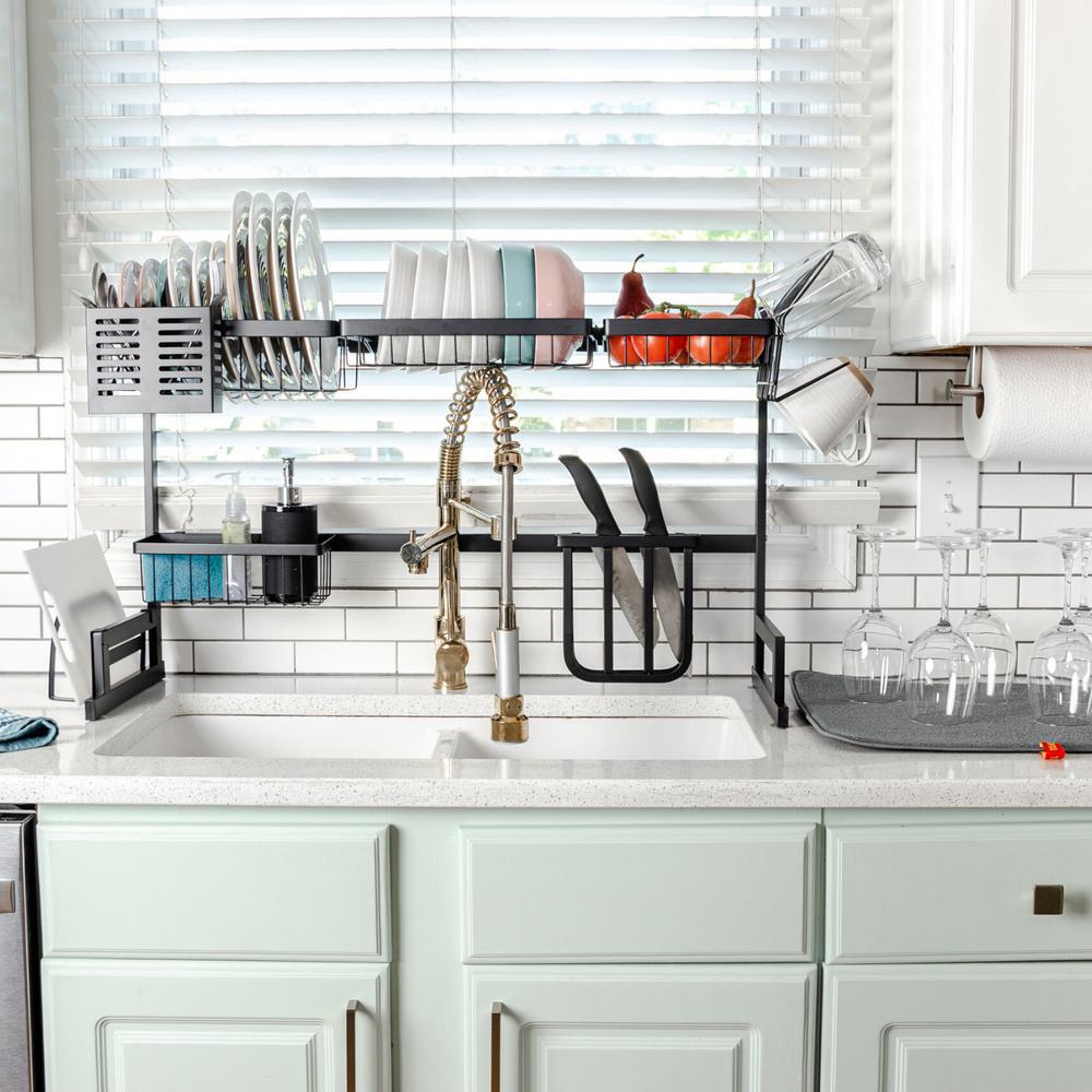 Boyel Living Over The Sink Dish Drying Rack Basic Large Dish Rack Stainless Steel Dish Drainer Non Slip Dish Dryer Utensil Holder Tk19014 1 The Home Depot