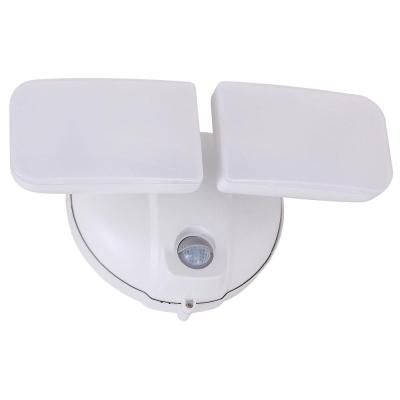 Surface Mount White Motion Activated Outdoor Integrated LED Spot Light with Adjustable Dual Head