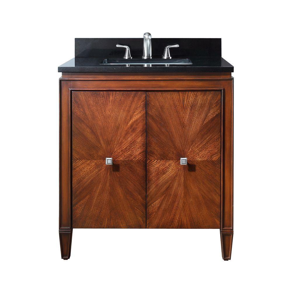 Brentwood 31 in. W x 22 in. D x 35 in. H Vanity in New Walnut with Granite Vanity Top in Black and White Basin