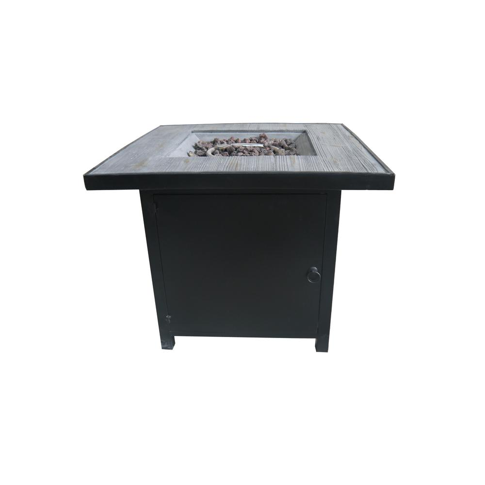 Arenal 29.9 in. Square Steel Gas Outdoor Fire Pit in Black