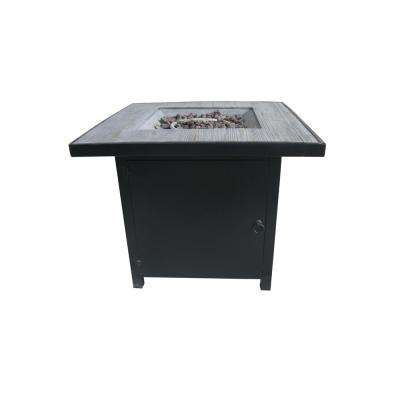 Arenal 29.9 in. Square Steel Gas Outdoor Fire Pit in Black and Gray