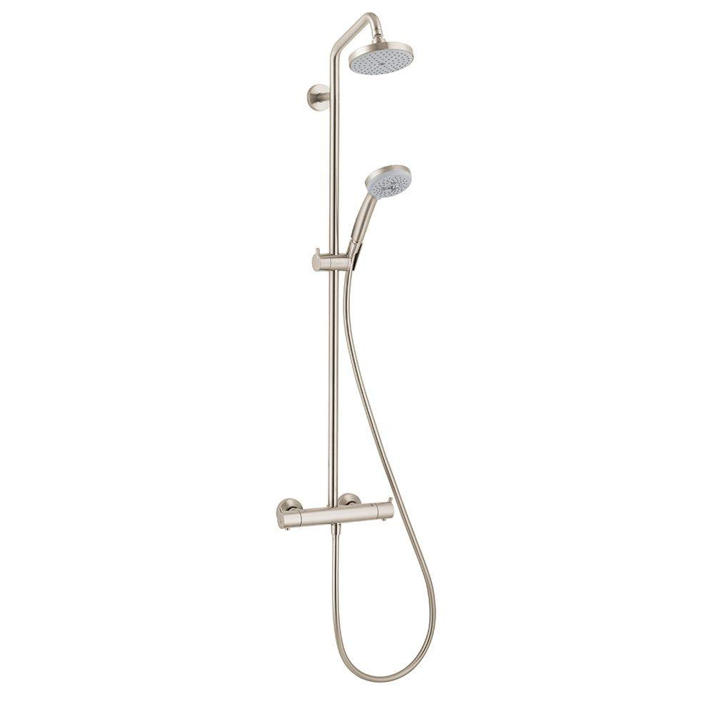 Hansgrohe Croma 4-Spray Handshower and Showerhead Combo Kit in Brushed Nickel