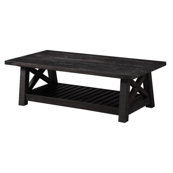 Yosemite 52 In Black Large Rectangle Wood Coffee Table With Shelf 7yc921 The Home Depot
