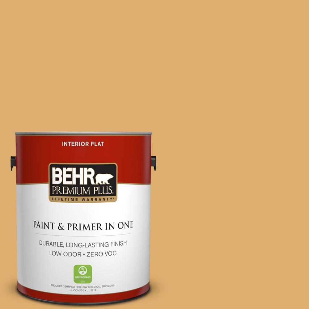 BEHR Premium Plus 1-gal. #320D-5 Sweet Maple Zero VOC Flat Interior Paint