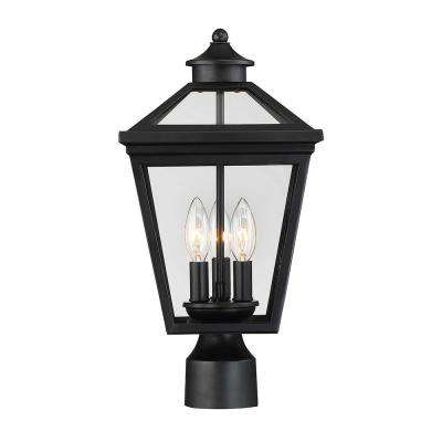 3-Light Outdoor Black Post Light