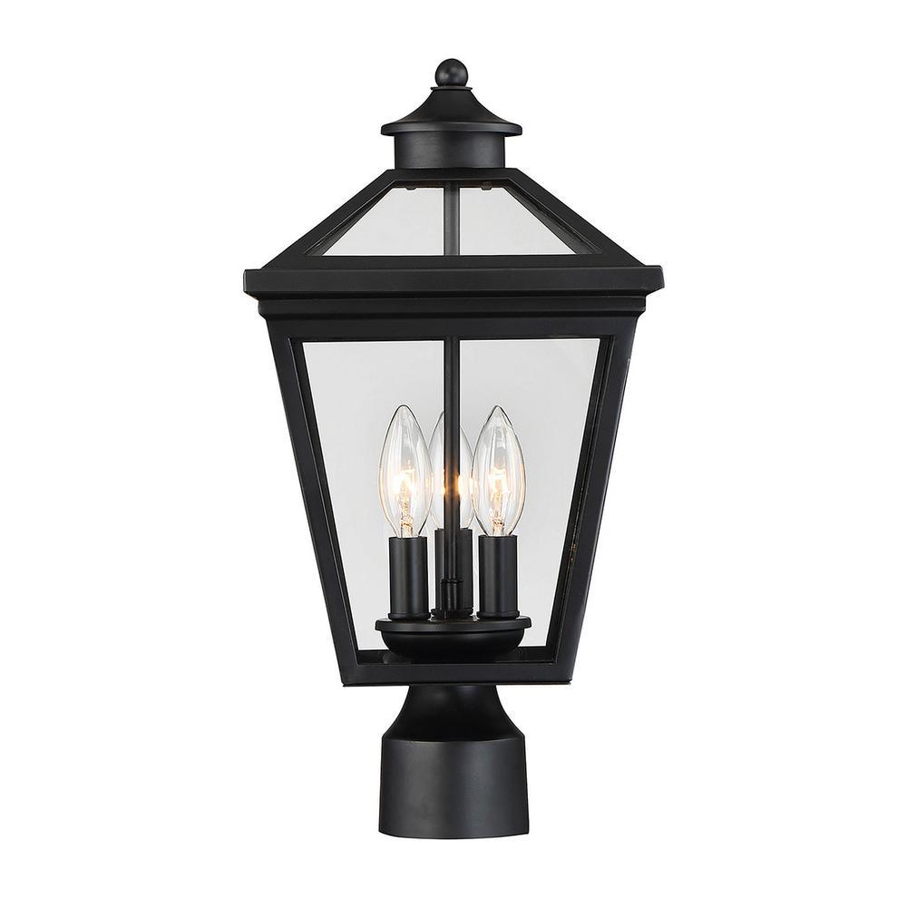 3-Light Outdoor Black Post Light