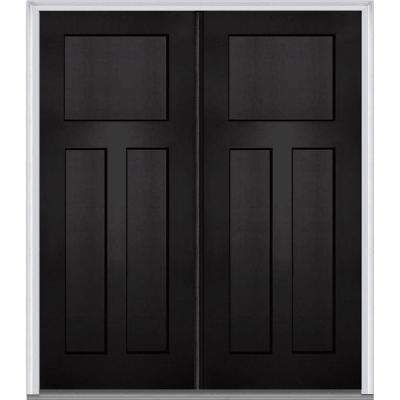 64 in. x 80 in. Classic Right-Hand Inswing Craftsman 3-Panel Painted Fiberglass Smooth Prehung Front Door with Brickmold