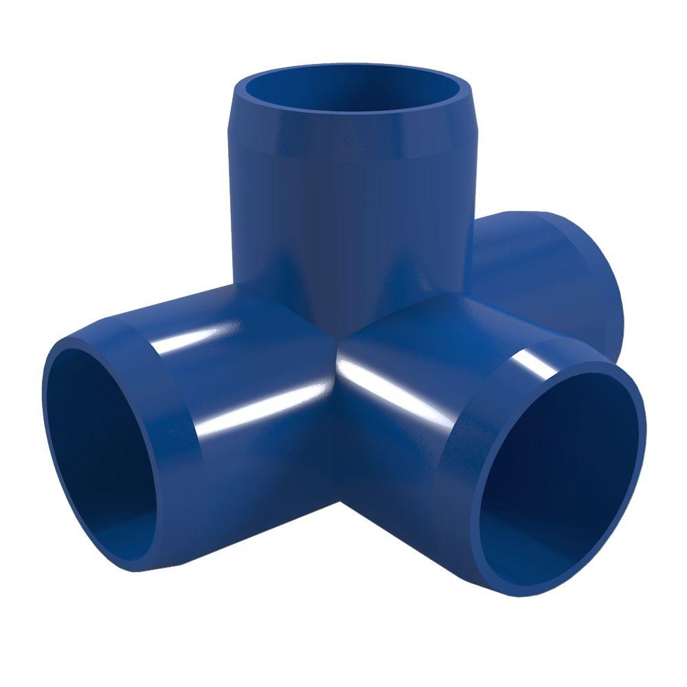 3/4 in. Furniture Grade PVC 4-Way Tee in Blue (8-Pack)