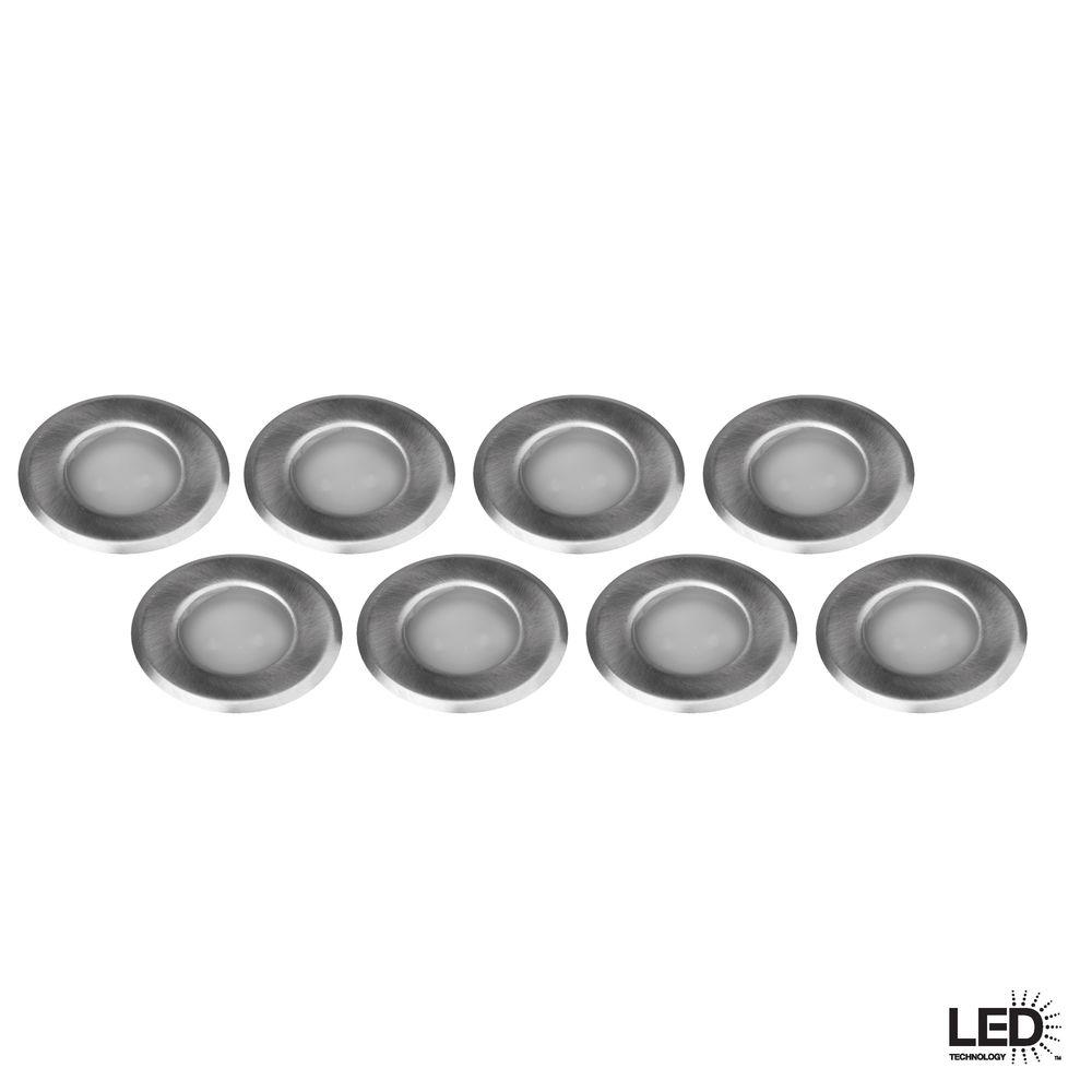 Hampton bay 12 volt low voltage 8 light stainless steel for Low voltage led patio lights