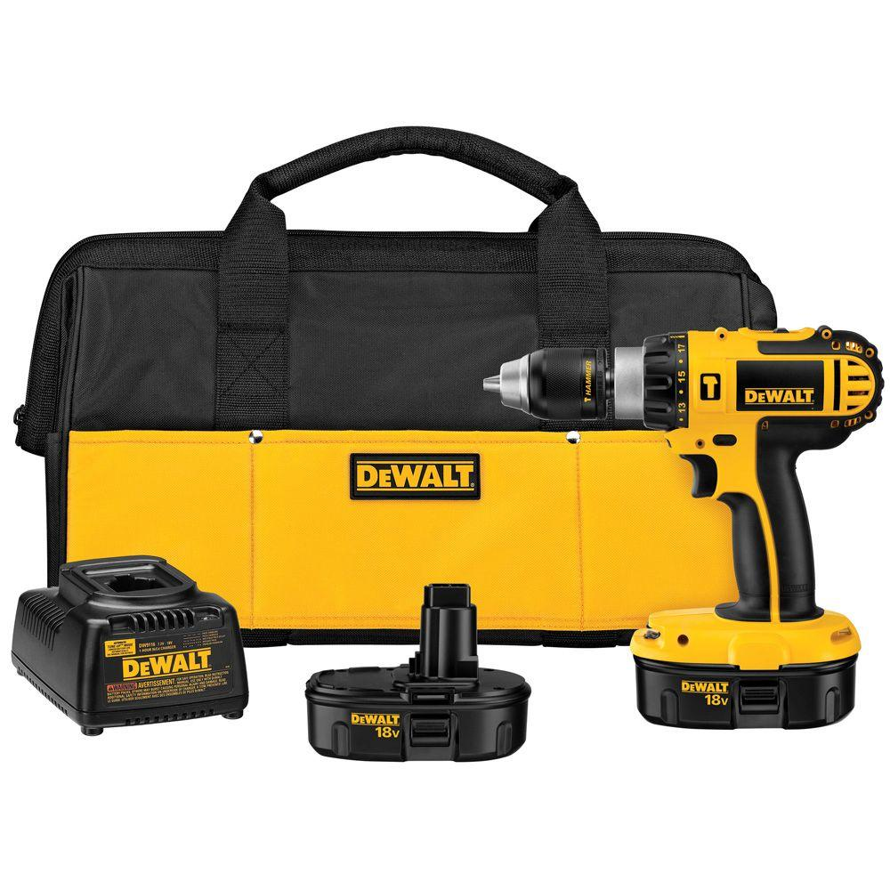 DEWALT 18-Volt NiCd Cordless 1/2 in. Compact Hammer Drill with (2) Batteries 1.2Ah, Charger and Contractor Bag
