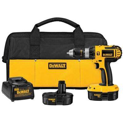 18-Volt NiCd Cordless 1/2 in. Compact Hammer Drill with (2) Batteries 1.2Ah, Charger and Contractor Bag