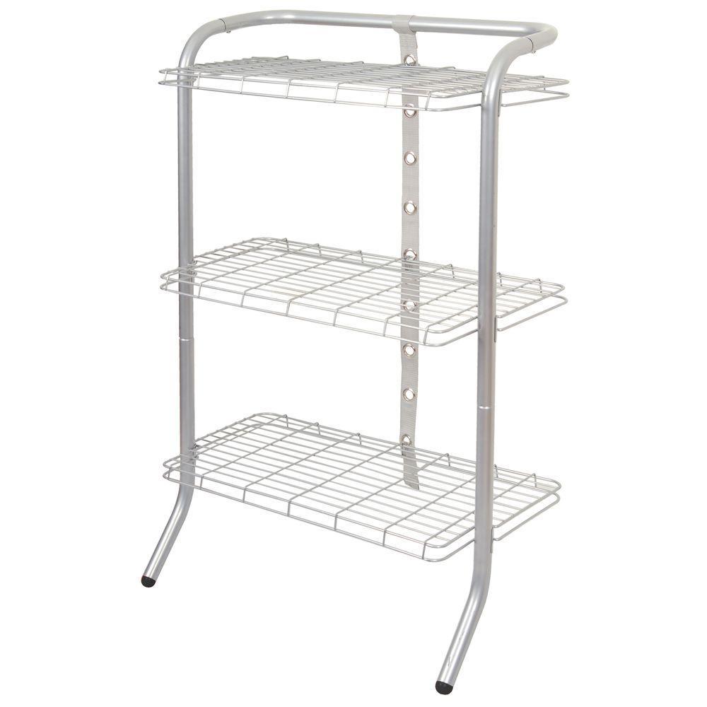 The Art of Storage 33 in. 3 Tier Adjustable Gravity Shelf Silver